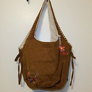 NWT Claire's brown faux suede bucklet bag